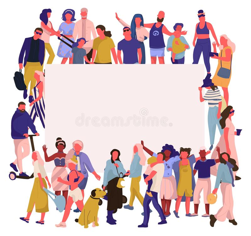 Moderiktigt folkbaner Folkmassa av lyckliga män och kvinnor med det tomma plakatet, olikt mångkulturellt samhälle Vektorgemenskap royaltyfri illustrationer