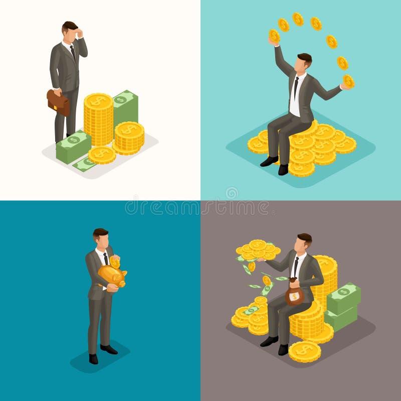 Moderiktigt isometriskt begrepp, 3d affärsman, ung affärsman, 4 begrepp med pengar, rikedom, vinst, pengarledning stock illustrationer