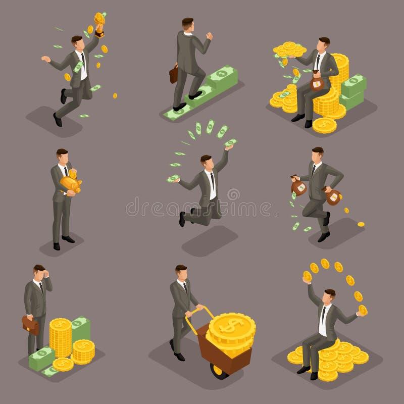 Moderiktigt isometriskt folk, 3d affärsman, begrepp med den unga affärsmannen, pengar, framgång, guld, rikedom, glädje, arbete, r vektor illustrationer