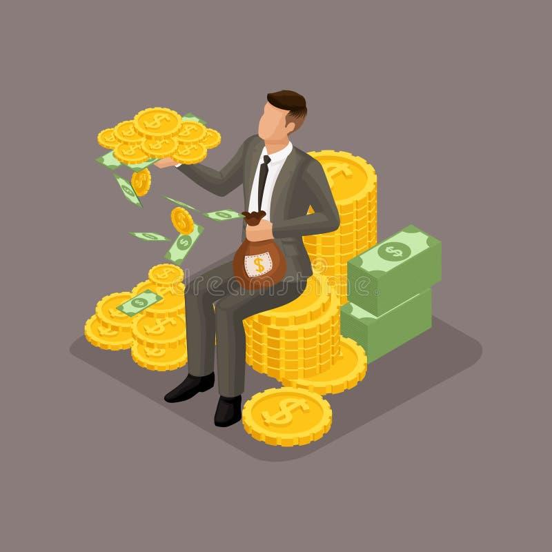 Moderiktigt isometriskt folk, 3d affärsman, begrepp med den unga affärsmannen, pengar, vinst, guld, sparande pengar som investera vektor illustrationer
