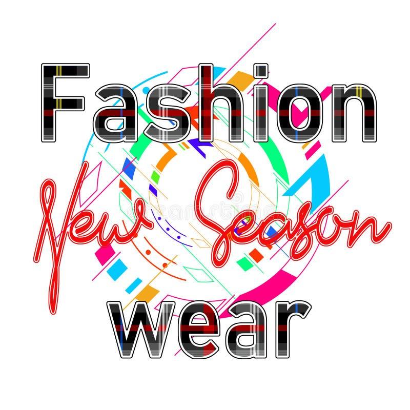 Moderiktigt modeT-tröjatryck för smattrande för design för text för textilmodekläder stock illustrationer