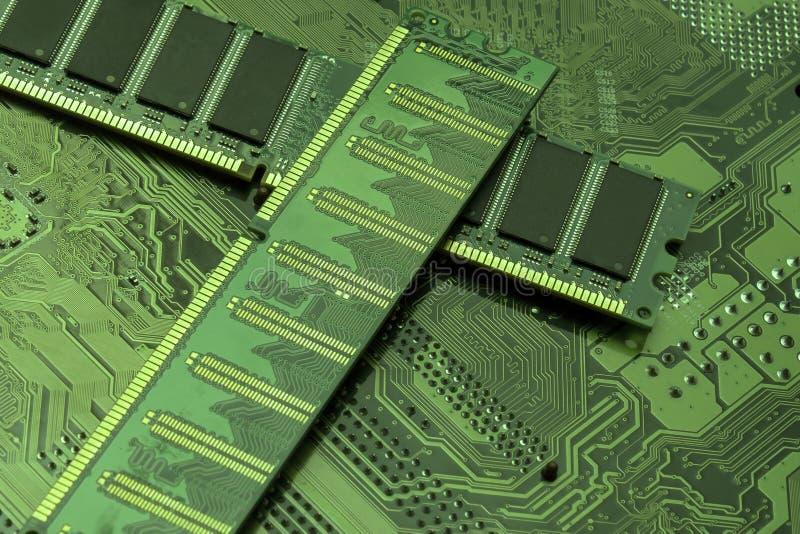 Moderkort för datormaskinvara och RAMminneschip royaltyfri fotografi