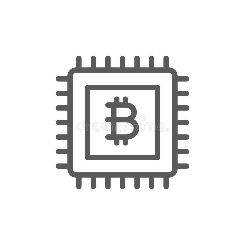 Moderkort med bitcointecknet, blockchainlinje symbol royaltyfri illustrationer