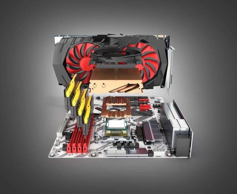 Moderkort som är färdigt med RAM och videokortet i den demonteraa formen som isoleras på svart lutningbakgrund 3d för att framför royaltyfri illustrationer