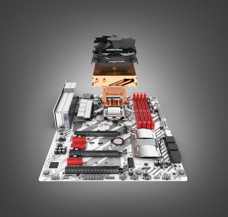 Moderkort som ?r f?rdigt med processorn och kylsystemet i den demonteraa formen som isoleras p? svart lutningbakgrund 3d f?r att  royaltyfri illustrationer