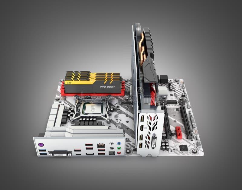 Moderkort som ?r f?rdigt med RAM, och videokort solated p? svart lutningbakgrund 3d f?r att framf?ra vektor illustrationer