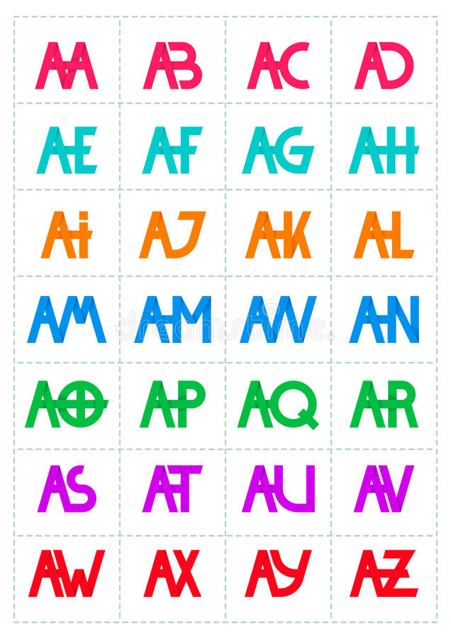 Moderm minimalis initial logo. Alphabet composition for logo or signature vector illustration