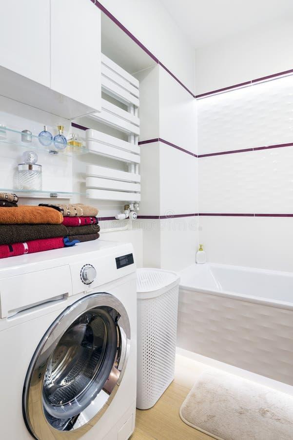 Moderm, stylish bathroom. Interior design in white finishing royalty free stock photos