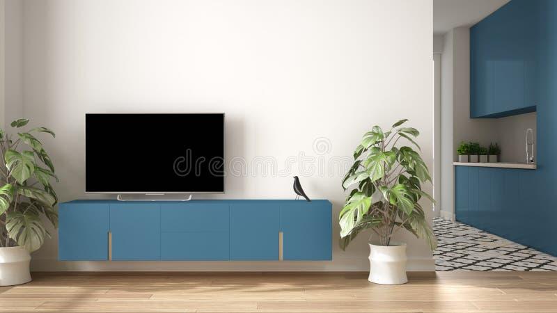 Modermodernes, blau gefarbenes minimalistisches Wohnzimmer mit kleiner Küche, Parkettboden, Fernsehschrank, Topfpflanze. Skandina stockfoto