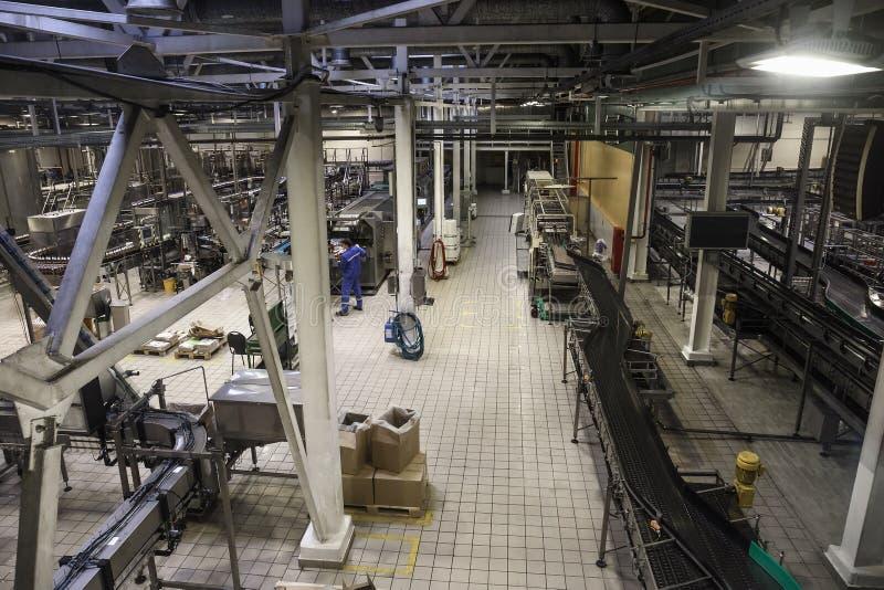 Modern ölfabrik, bryggeribegrepp Stålsätta transportören, produktionslinjen och rör för ölproduktion industriell bakgrund royaltyfri fotografi