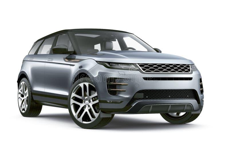Modern överenskommelse SUV - tolkning på vit bakgrund stock illustrationer