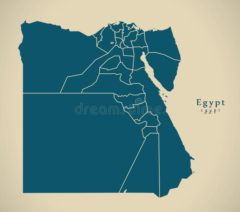 Modern översikt - Egypten med governorates EG. vektor illustrationer