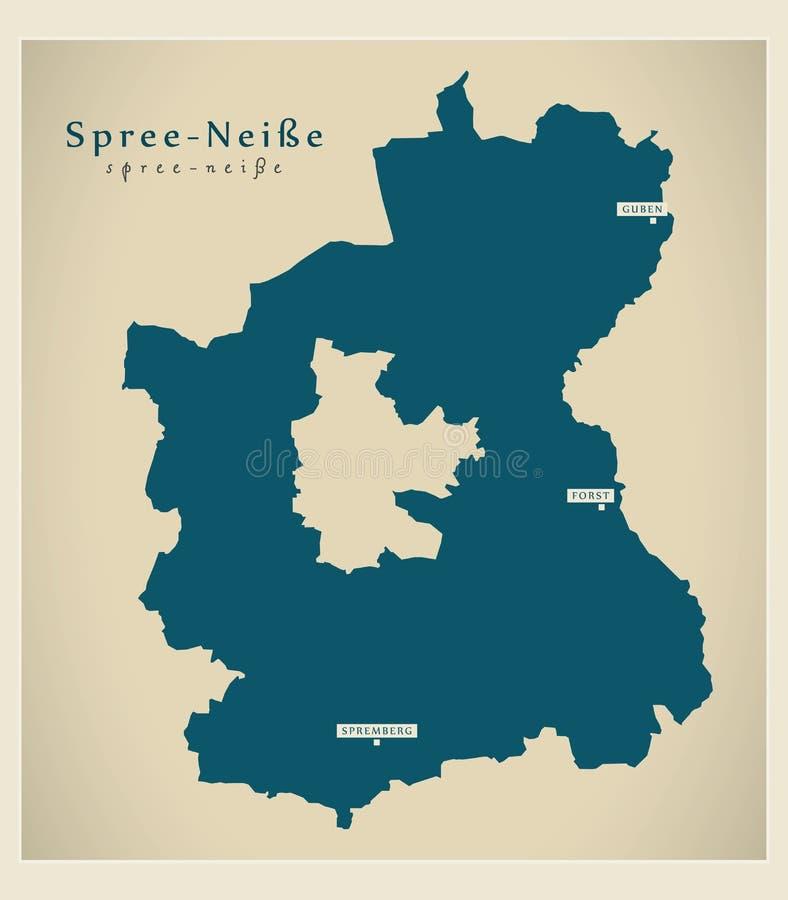 Modern översikt - Fest-Neisse län av Brandenburg DE stock illustrationer