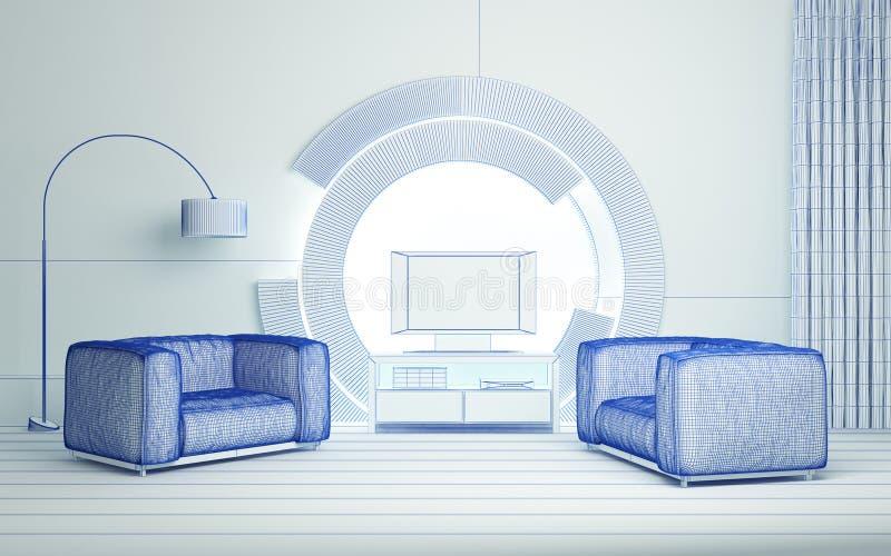 Modern 3d interior royalty free illustration