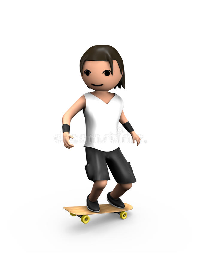 Modern 3D Man Performing on Skateboard. Modern 3D Man Performing Trick on Wooden Skateboard stock illustration