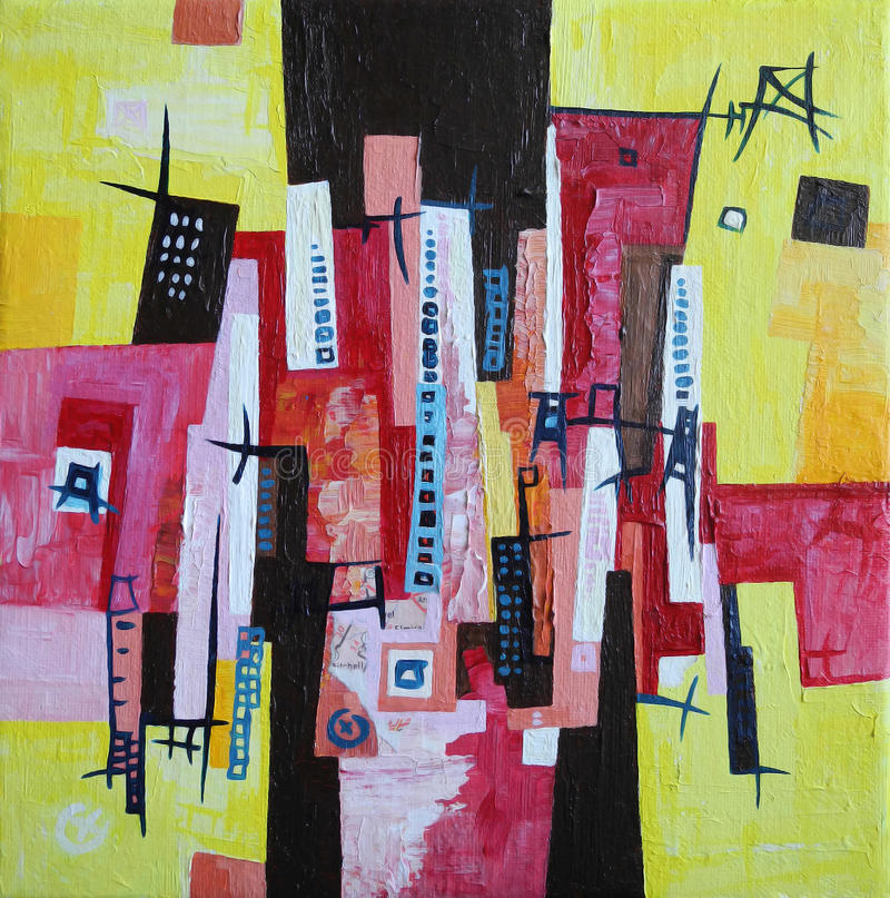 Modern Abstract Art - City Town Geometric Landscape - Yellow Red White Colors royalty free illustration