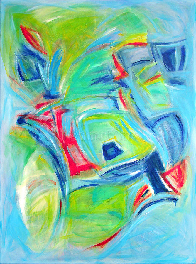 Modern Abstract Art - Expressive Painting Style stock illustration