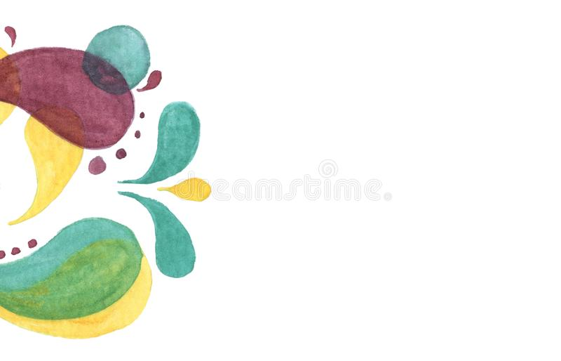 Modern abstract background. Abstract bright color drops and clean place for your text. Watercolor hand draw illustration isolated on white background royalty free illustration