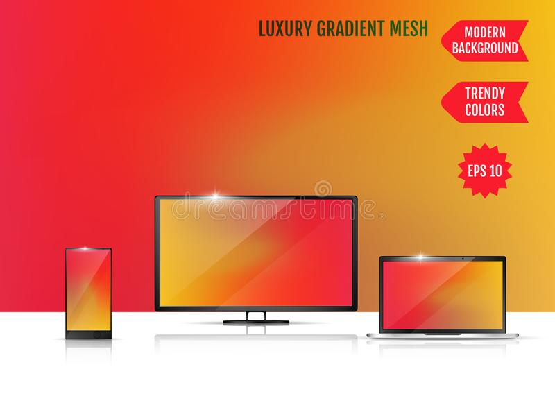 Modern abstract background. Colors transition concept. Gradient mesh. Trendy colored Surface. An example of the use of the. Proposed background on the screen of royalty free illustration