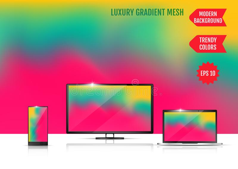 Modern abstract background. Colors transition concept. Gradient mesh. Trendy colored Surface. An example of the use of the. Proposed background on the screen of stock illustration