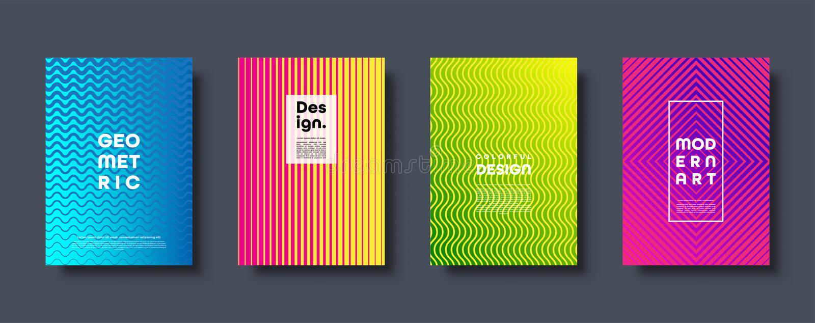 Modern abstract background with geometric shapes and lines. Colorful trendy minimal A4 template cover with acid colors vector illustration