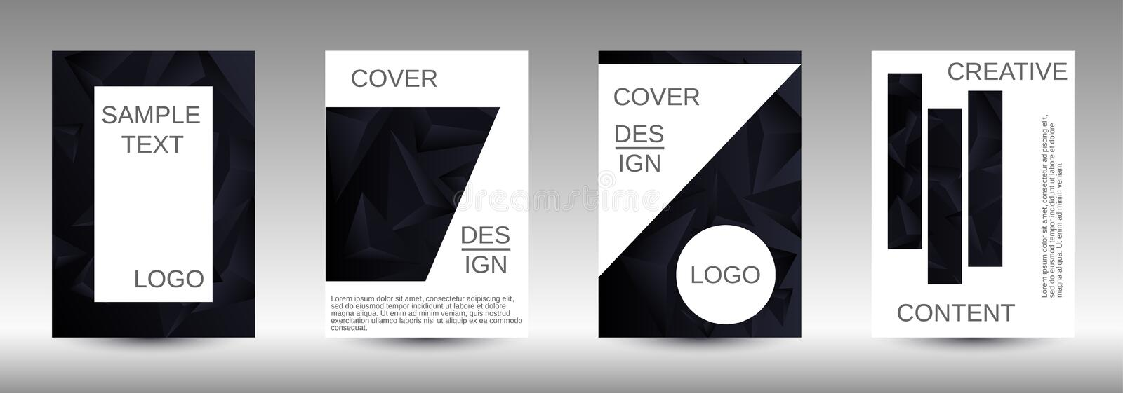 A set of modern abstract covers. Modern abstract background. A set of modern abstract covers. Creative black triangle element vector. Geometric booklet cover stock illustration