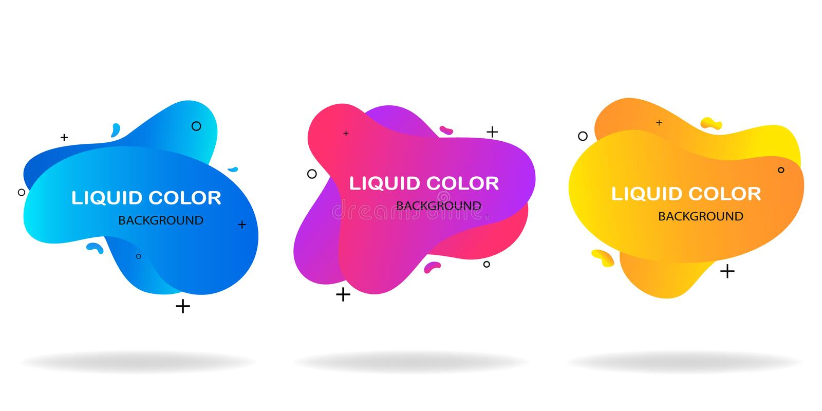 Modern abstract background set. Geometric liquid shape with gradient colors.  Fluid design.  Isolated gradient waves.Template for stock illustration