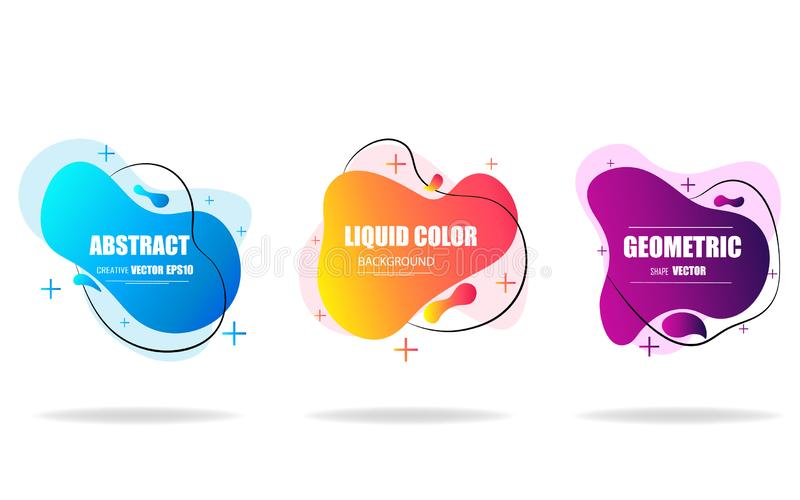 Modern abstract background set. Geometric liquid shape with gradient colors.  Fluid design.  Isolated gradient waves.Template for vector illustration