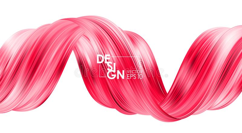 Vector illustration: Modern abstract banner background with 3d twisted red flow liquid shape. Acrylic paint design royalty free illustration