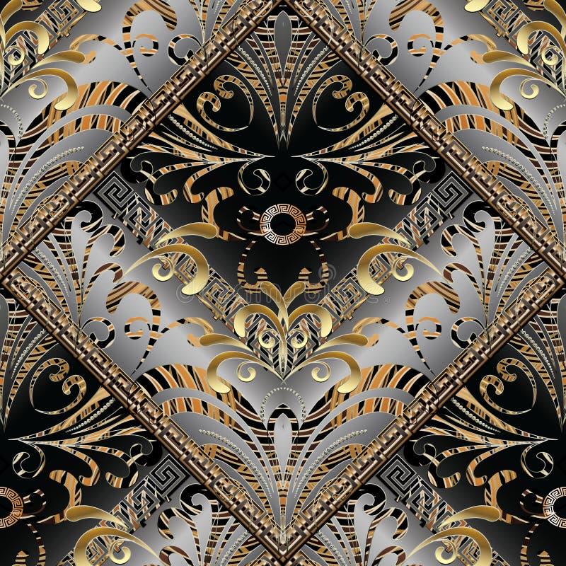 Modern abstract bloemen naadloos patroon Vector geometrische backgr stock illustratie