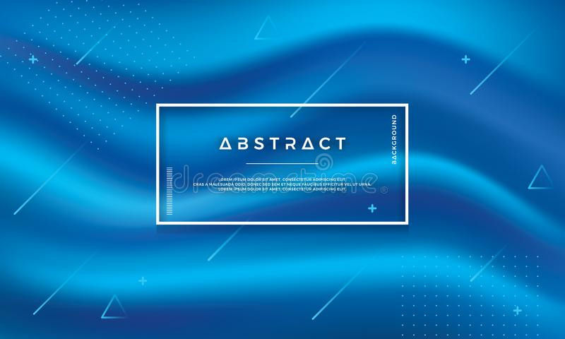 Modern abstract blue flow vector background. Dynamic Blue wave background. Text and design elements can be edited.Print. Modern abstract blue flow vector royalty free illustration