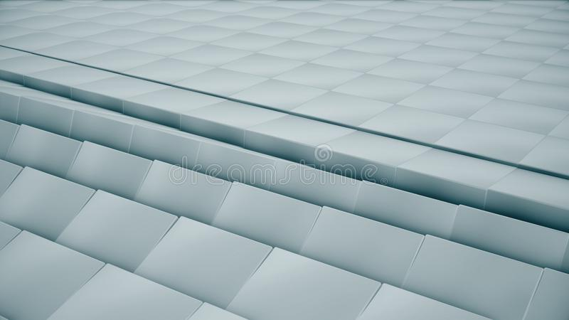 Modern abstract metal grid surface rotate wave of bright blue cubes royalty free stock photos