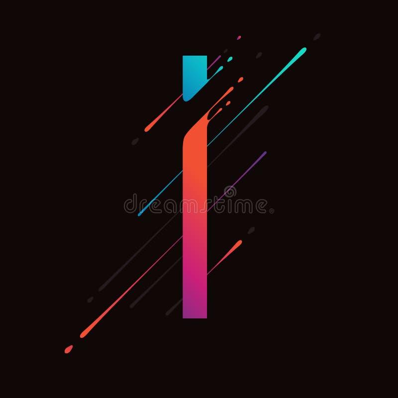 Modern abstract colorful alphabet. Dynamic liquid ink splashes letter. Vector design element for your art. Letter I vector illustration