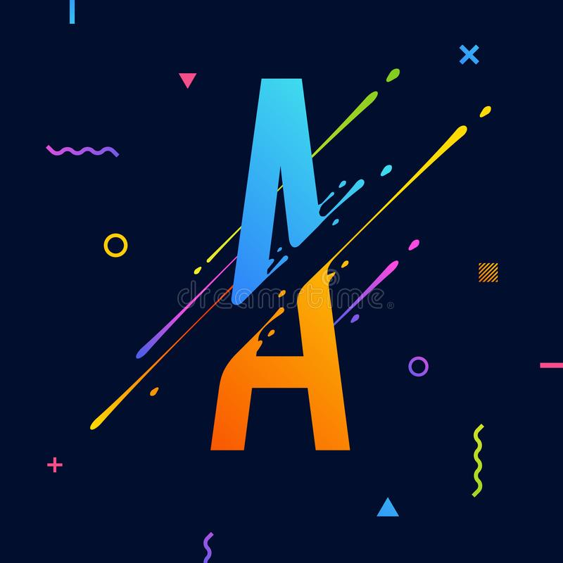 Modern abstract colorful alphabet with minimal design. Letter A. Abstract background with cool bright geometric elements stock illustration