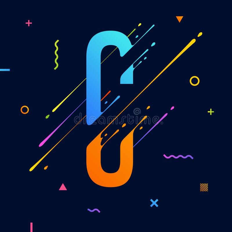 Modern abstract colorful alphabet with minimal design. Letter C. Abstract background with cool bright geometric elements royalty free illustration