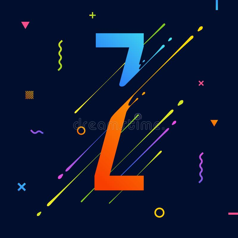 Modern abstract colorful alphabet with minimal design. Letter Z. Abstract background with cool bright geometric elements stock illustration