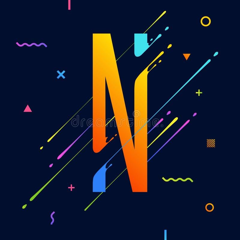 Download Modern Abstract Colorful Alphabet With Minimal Design Letter N Background Cool