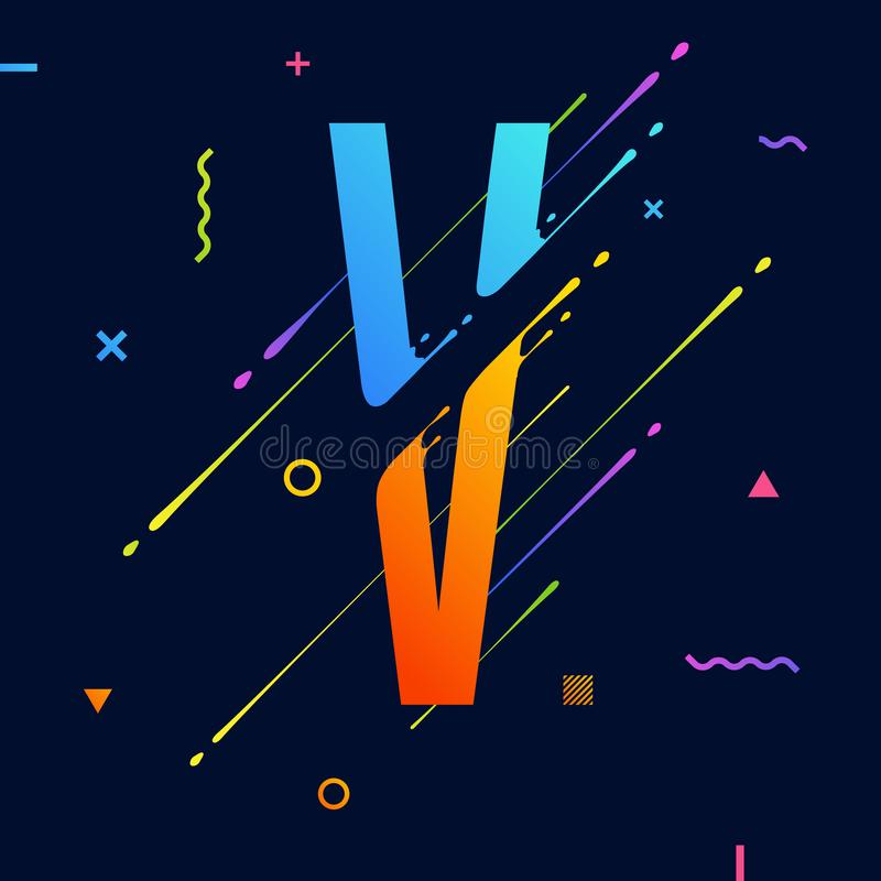Modern abstract colorful alphabet with minimal design. Letter V. Abstract background with cool bright geometric elements stock illustration