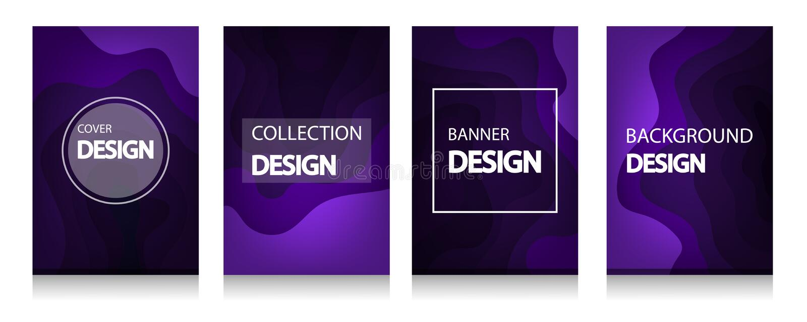 Modern abstract covers of A4 abstract color 3d paper art , colorful wave and fluid shapes violet background stock illustration