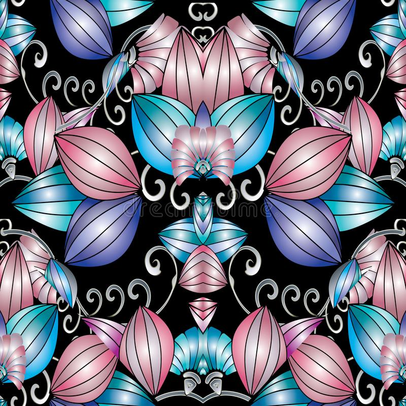 Modern abstract 3d floral seamless pattern. Vector background wi stock illustration