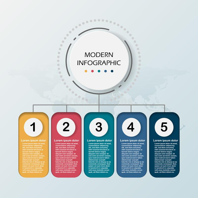 Modern Abstract 3D infographic template. Business circle with options for presentation workflow diagram. Five steps of success. stock illustration