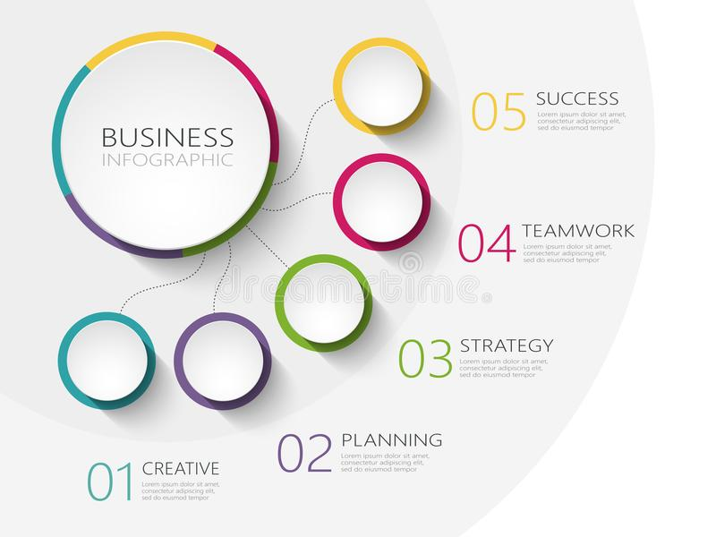 Modern abstract 3D infographic template with five steps for success. Business circle template with options for brochure, diagram, royalty free illustration