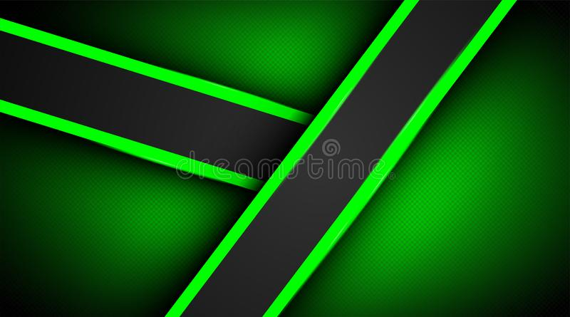 Modern abstract dark background textures with overlapping green lighting decorations royalty free illustration