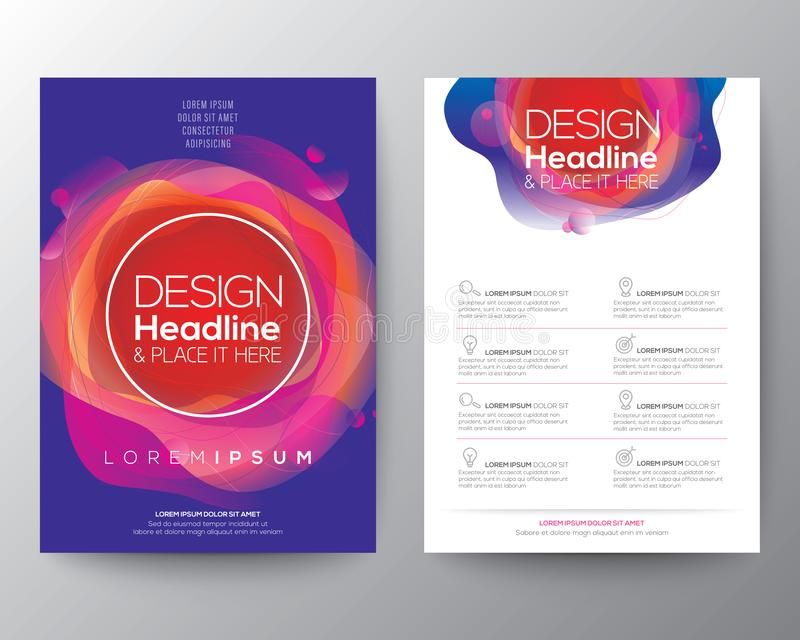 Modern abstract fluid circle shape with vivid and bright colors gradient on blue background , template for Brochure, flyer, poster vector illustration