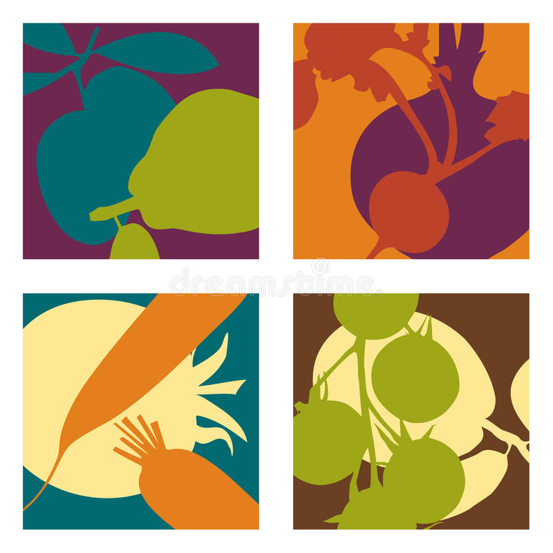 Free Modern Abstract Fruit And Vegetable Designs Stock Photo - 34051460