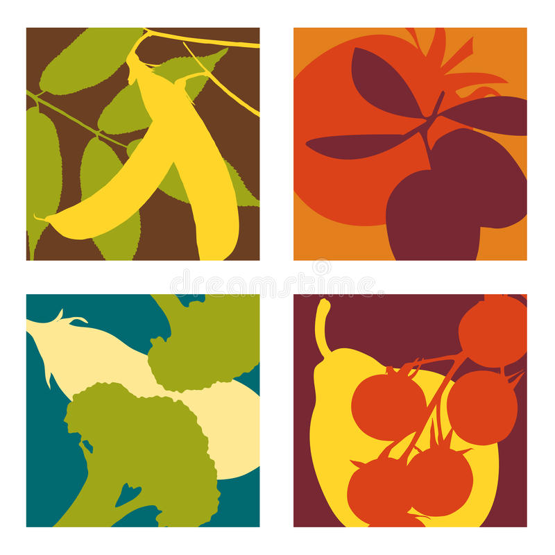 Modern abstract fruit and vegetable designs vector illustration
