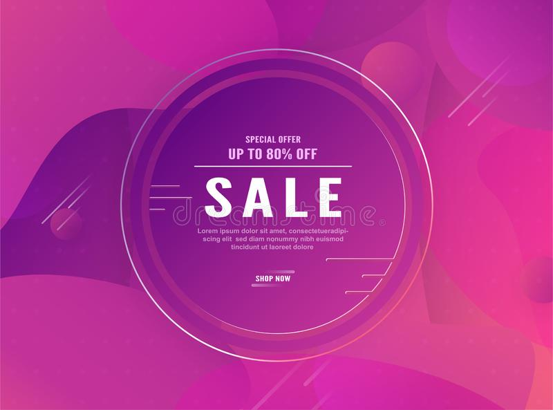 Modern abstract gradient background in liquid and fluid style. Trend design of the world. 3D illustration template for web banner royalty free illustration
