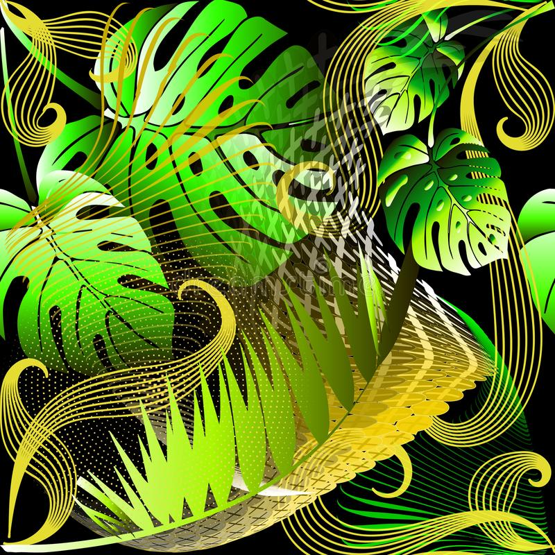 Modern abstract green palm leaves vector seamless pattern. Ornamental tropical background. Repeat bright patterned geometric royalty free illustration