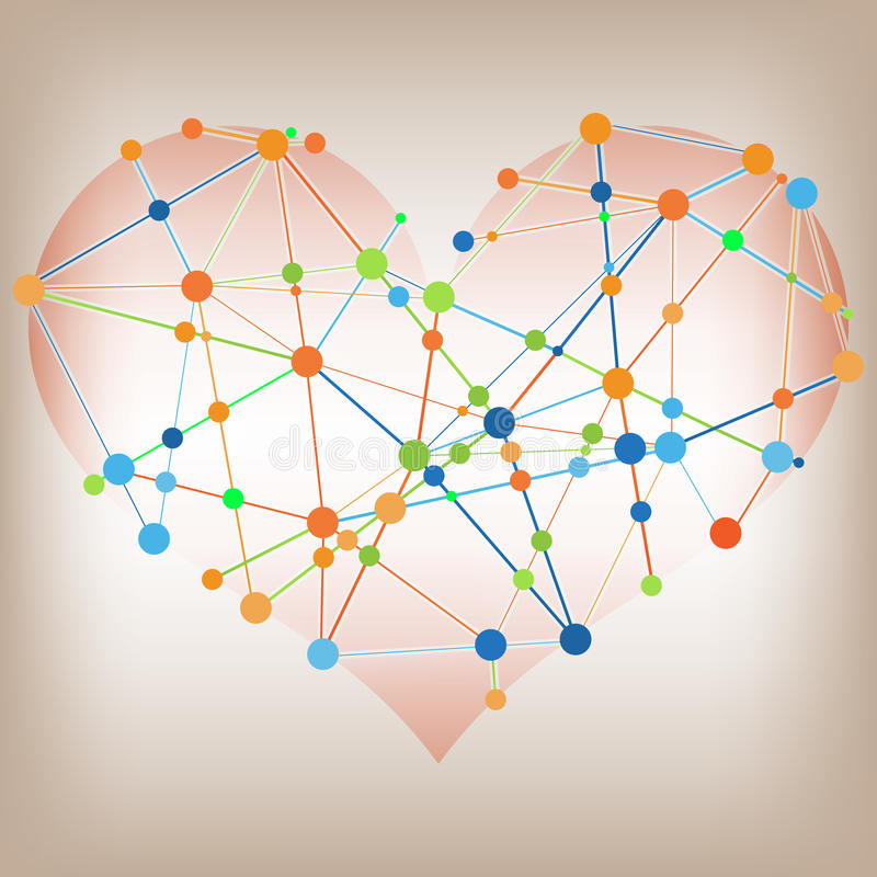 Modern abstract informatie grafisch ontwerp - het malplaatje van hartlijnen royalty-vrije illustratie
