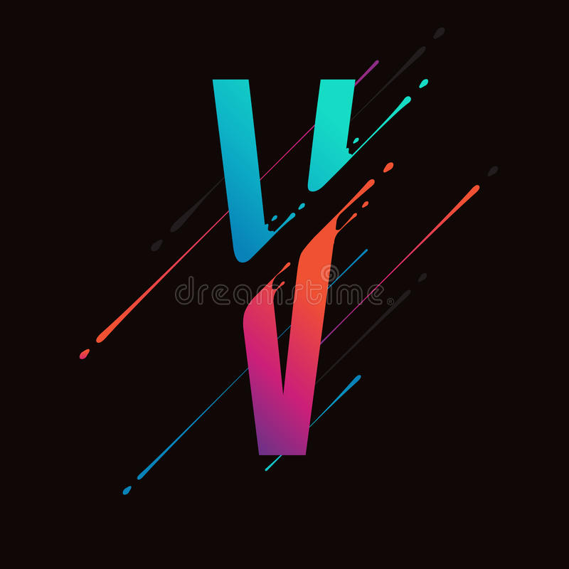 Modern Abstract Kleurrijk Alfabet De dynamische vloeibare inkt bespat brief Vectorontwerpelement voor uw art. Brief V vector illustratie